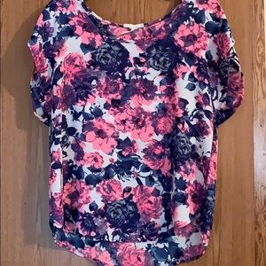 Poetry hot pink & navy blue rose print blouse